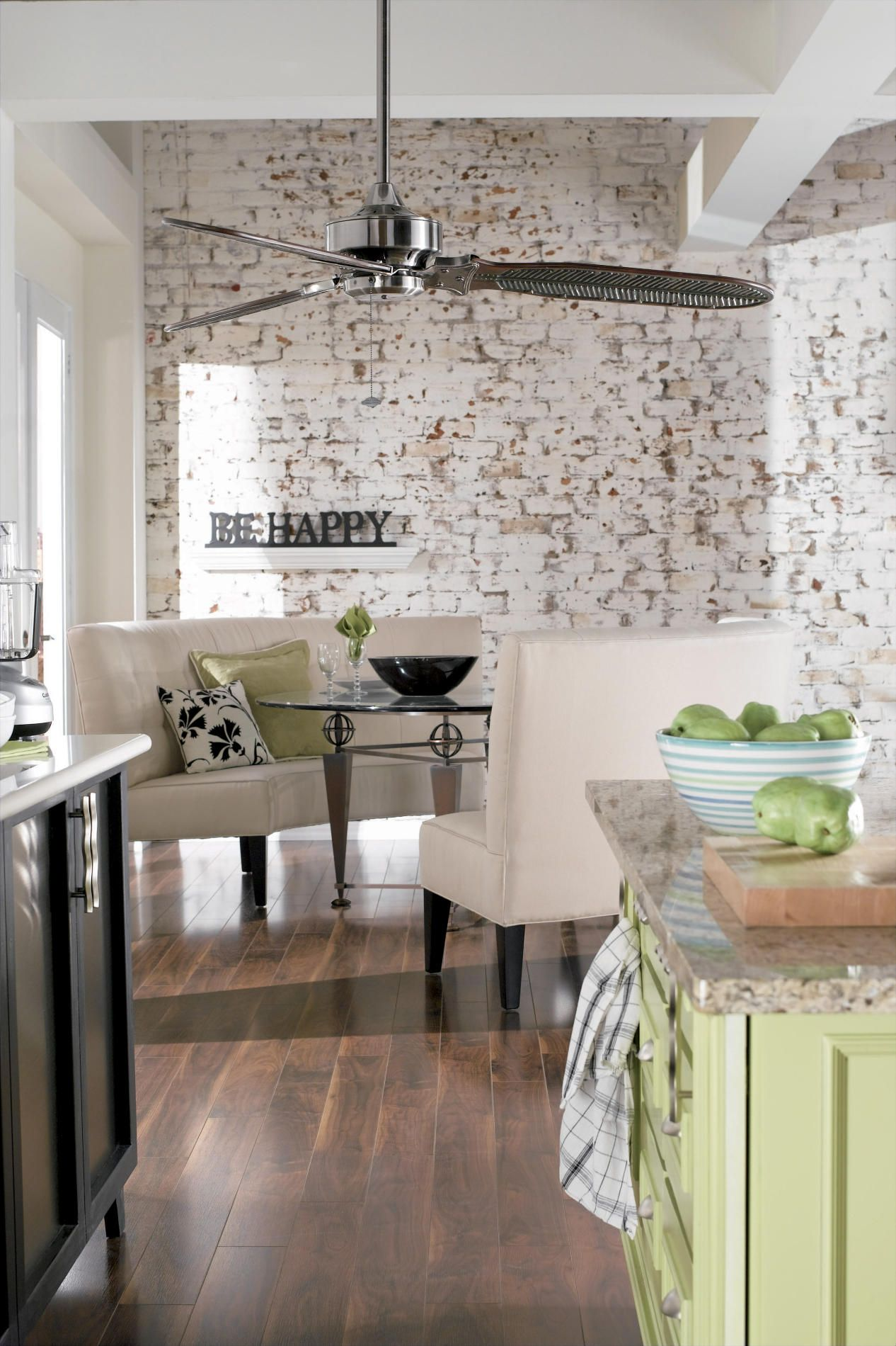 white washed brick walls in kitchen! my bricks are bought, just