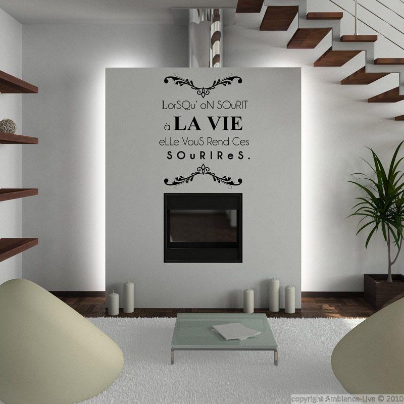 sticker lorsqu 39 on sourit la vie elle vous rend ces. Black Bedroom Furniture Sets. Home Design Ideas