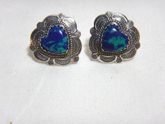 Blue Sapphire Cabochon Heart Shaped Stud Earrings Sterling Silver 925