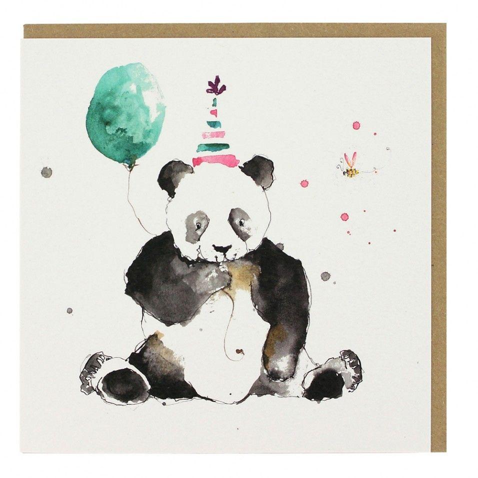 Watercolour Panda Birthday Card Watercolor Birthday Cards Panda Birthday Cards Birthday Card Drawing