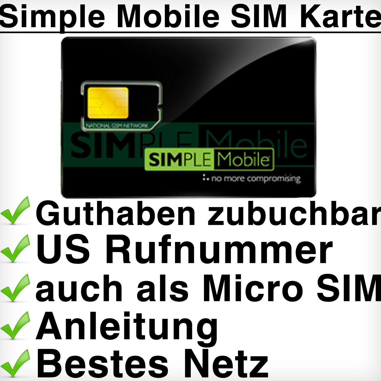 Simple Mobile USA SIM Karte Eine Auswahl aus 3 Prepaid Tarifen –rtliche USA Telefonnummer Arbeitet im T Mobile Netz 5 $ internationale Gespräche