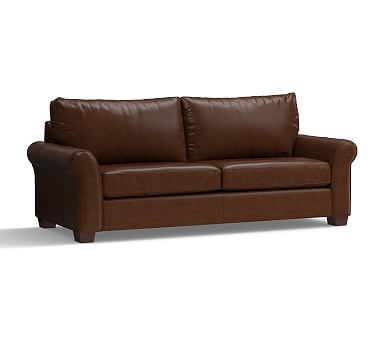 """PB Comfort Roll Arm Leather Grand Sofa 94"""", Polyester Wrapped Cushions, Leather Legacy Chocolate"""