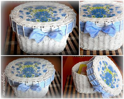 Seis manualidades que puedes hacer con papel reciclado - Reciclar cestas de mimbre ...