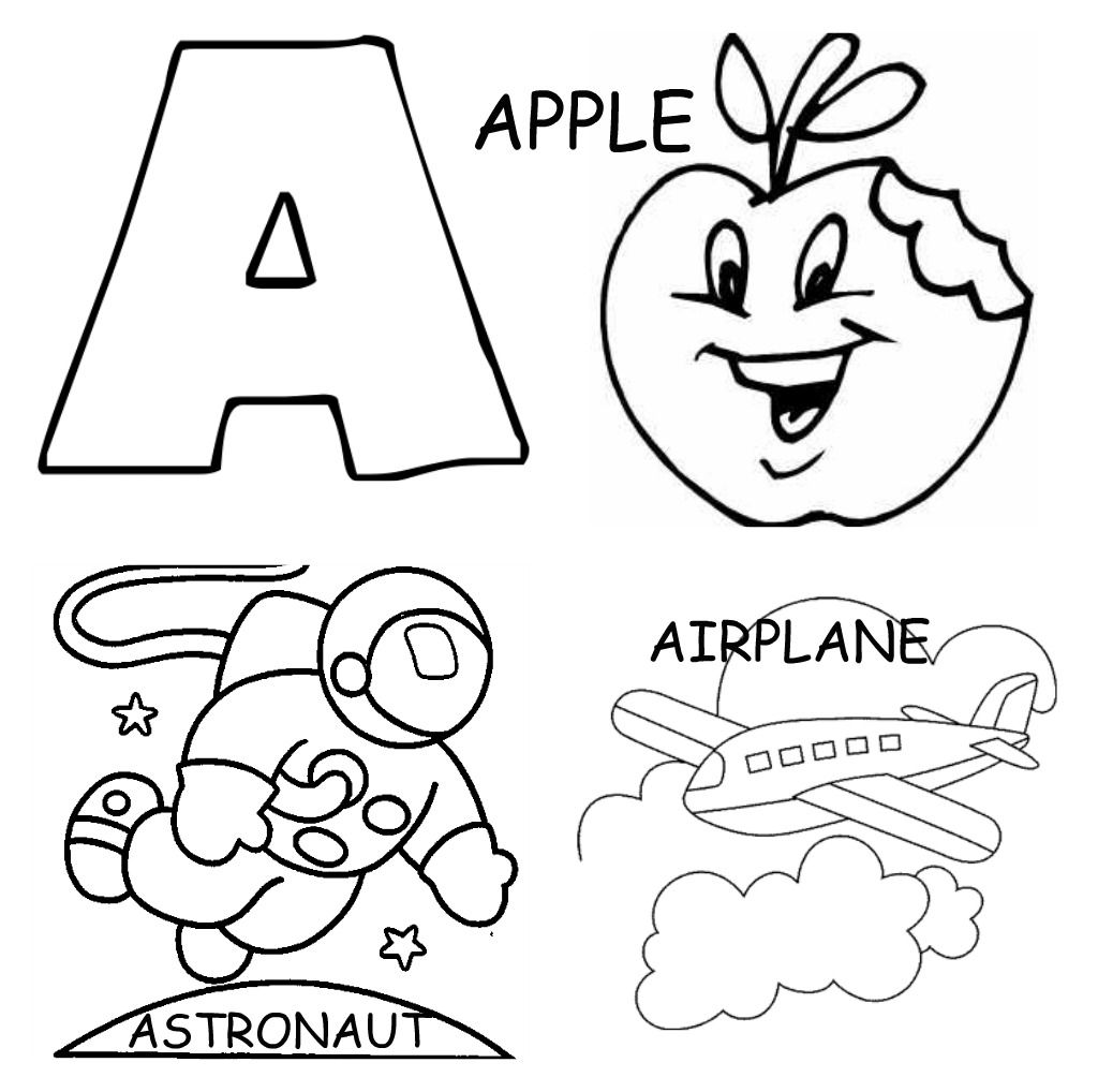 alphabet coloring pages printable apple airplane and astronout - Alphabet Coloring Pages For Kids