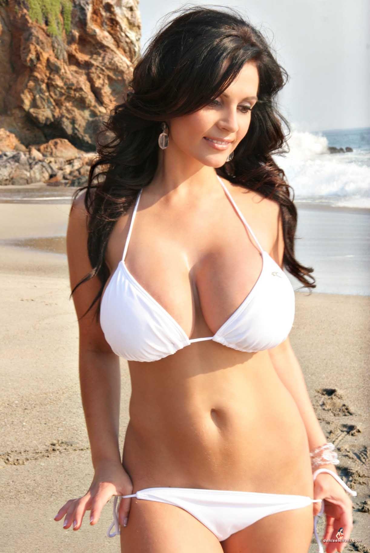Denise milani white bikini