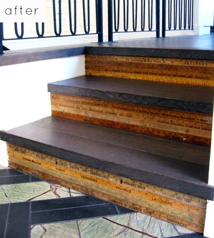 Ruler stairs - great idea to re-claim old yard sticks! Positively Sustainable! (You could do the treads in PaperStone to up the ante!)