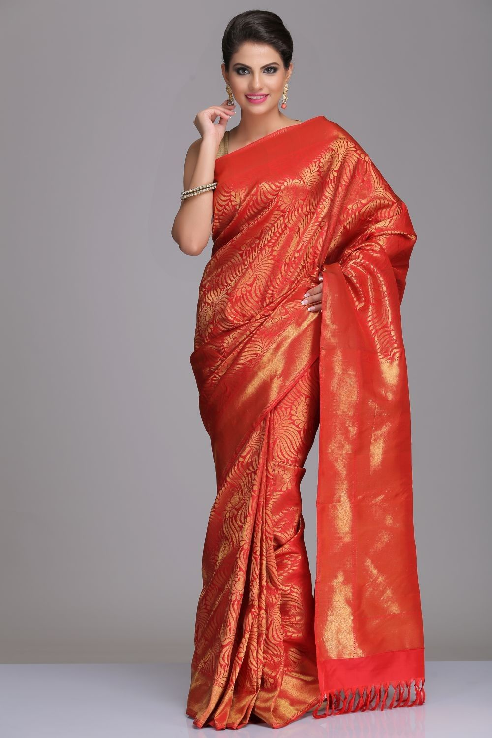 3a64a57ac0 Rust Red Kanjivaram Pure Silk Saree With All Over Gold Zari Paisley &  Floral Jal With Real Zari