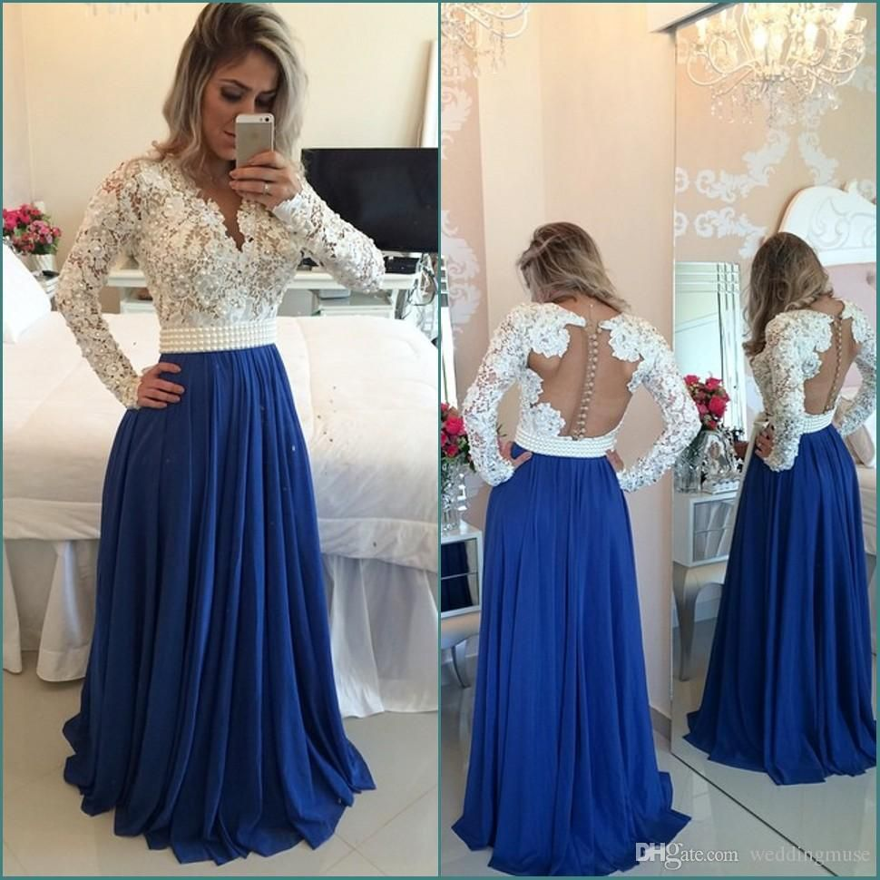 Cheap hot evening dresses long sleeves lace pearl beaded blue