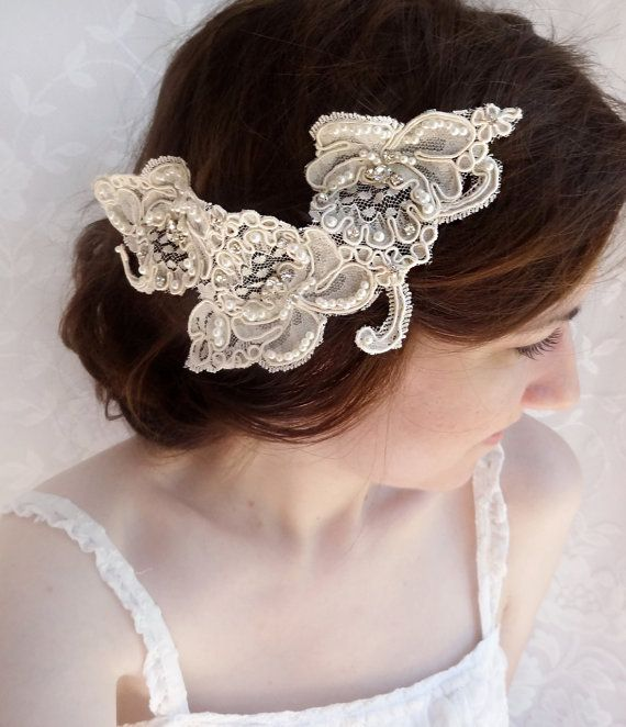 lace headpiece rhinestone lace hairpiece alencon lace wedding hairpiece bridal headpiece isabella luxury lace wedding hair comb