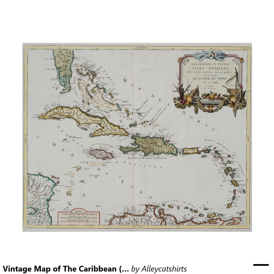 Vintage Map Of The Caribbean 1779 Poster Zazzle Com Antique