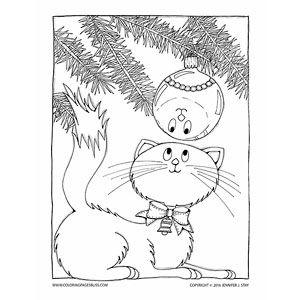 Free Christmas coloring page. This sweet Christmas Kitty is Looking at its Reflection in a Bulb. This darling coloring page was inspired by a vintage Christmas card and by artist Jennifer Stay's own cat who loves to spend hours under the tree. Have fun coloring this downloadable coloring page plus over 20 other holiday coloring pages.