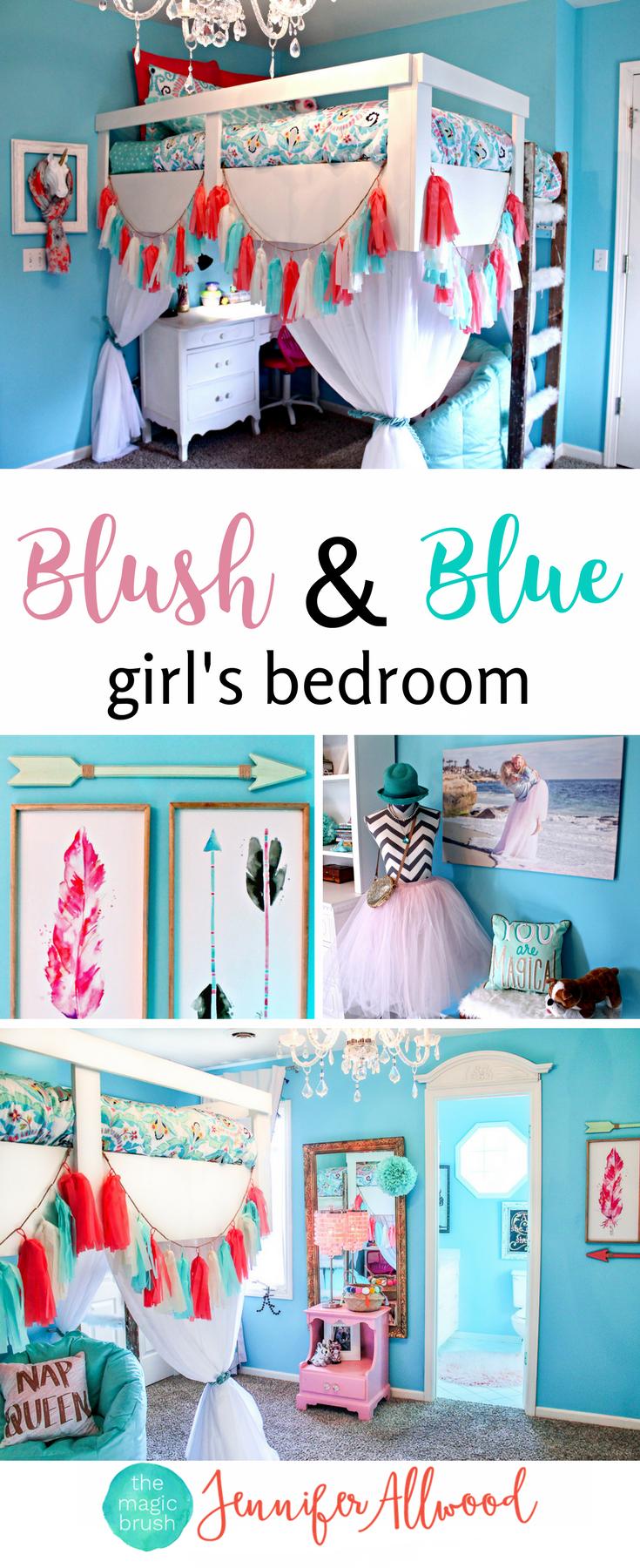 Homemade loft bed ideas  Gorgeous Blush u Blue Girls Bedroom by Jennifer Allwood  Girls