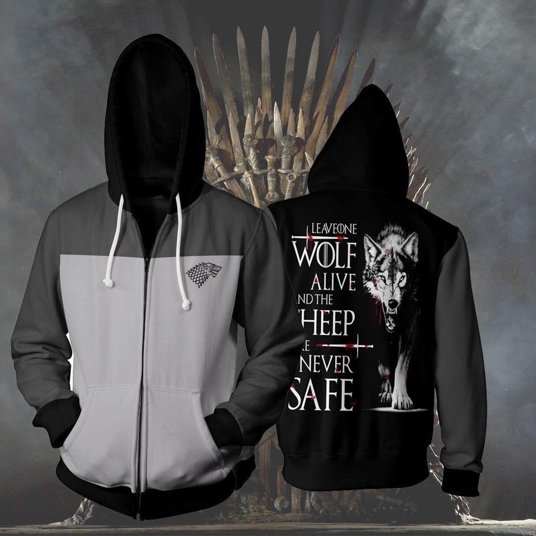 Game Of Thrones House Stark Zip Up Hoodie 3d Hoodie Game Of Thrones Hoodie Hoodie 3d Hoodies