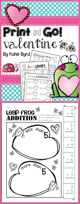 Print And Go Valentine Math And Literacy No Prep