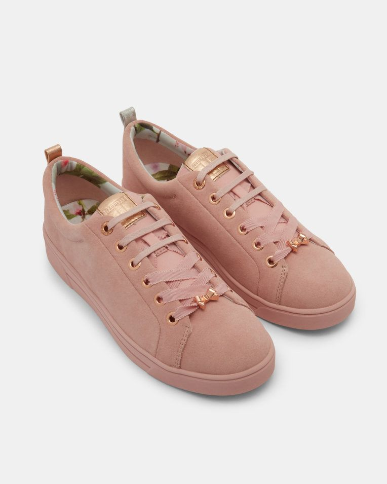 4e66c3f409ea0 Lace up suede tennis trainers - Pink