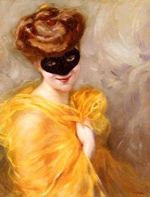 Lady At A Masked Ball by Pierre Ribera