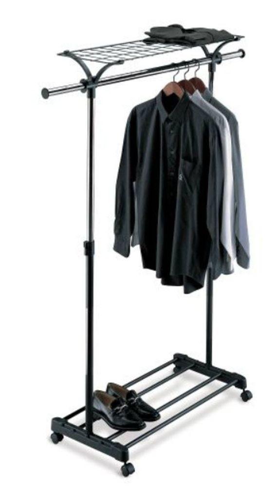 Garment Rack Shelf Clothes Shoe Storage Organizer Hanger Wheels Adjustable StorageOrganizer