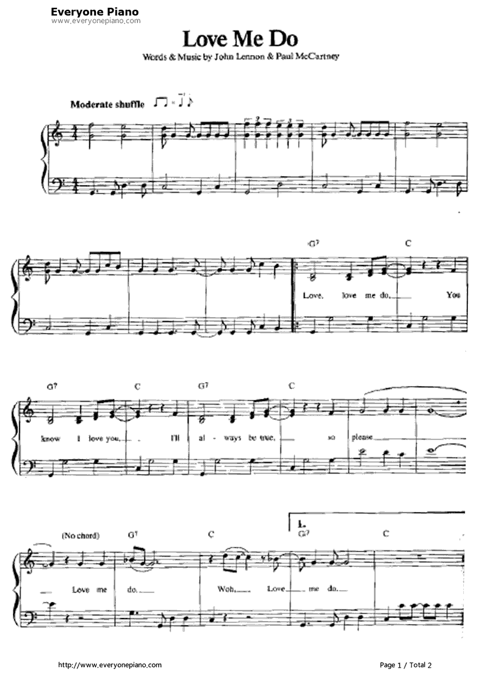 Free Love Me Do-The Beatles Sheet Music Preview 1 | Music