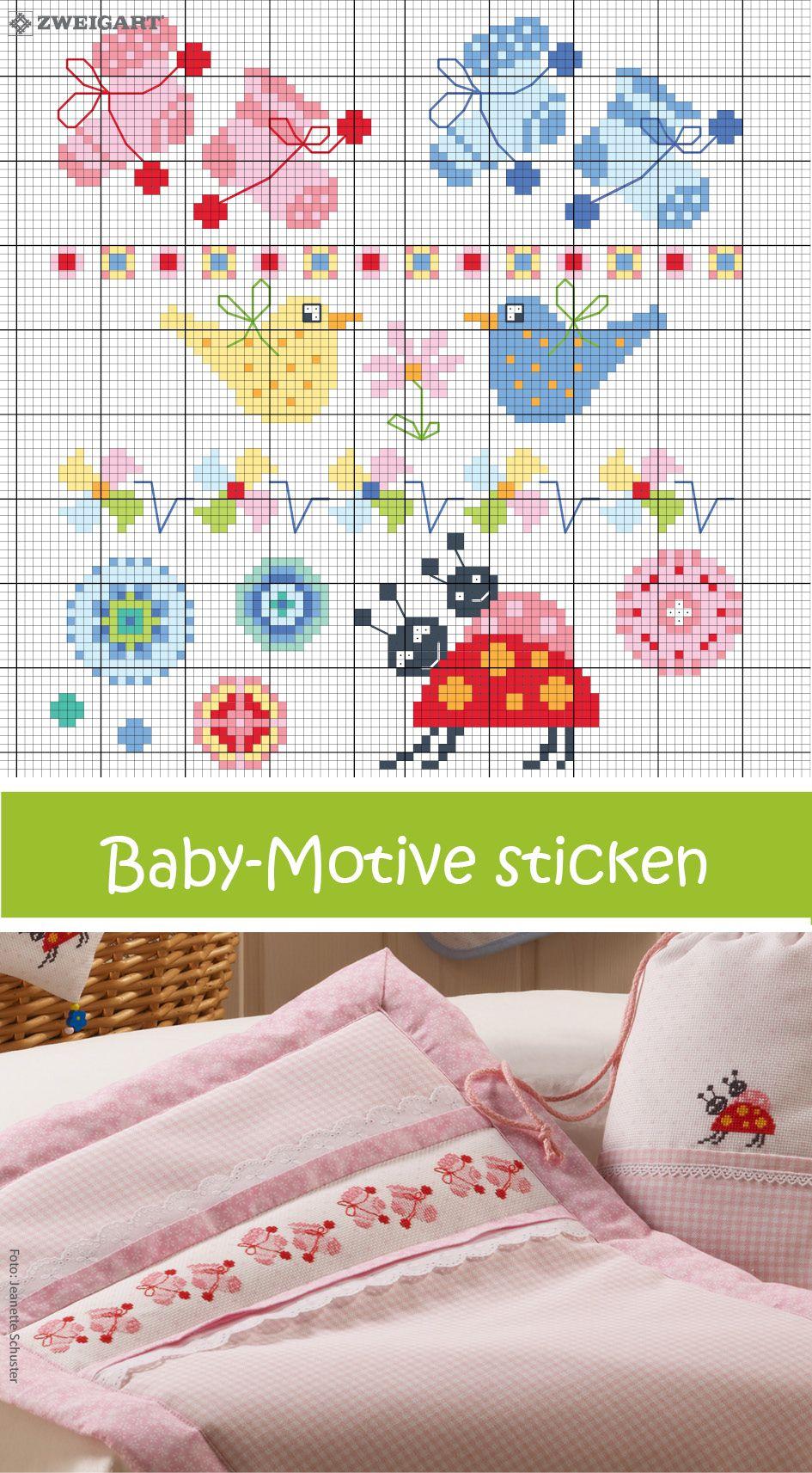 s e motive f r babies in m dchen jungenfarben sticken sticken kreuzstich baby. Black Bedroom Furniture Sets. Home Design Ideas