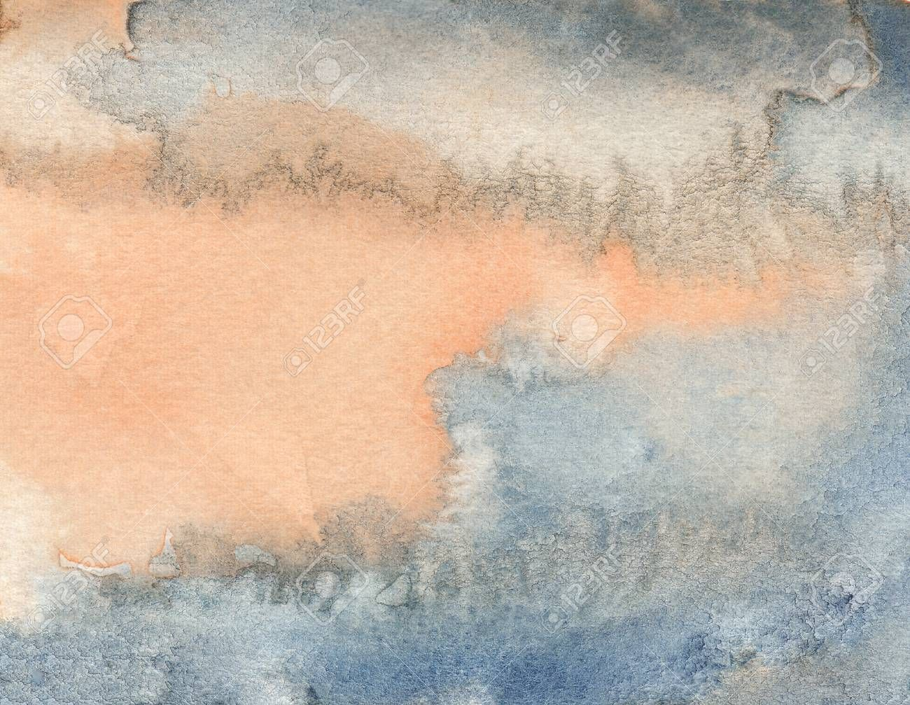Rough Orange Blue Abstract Watercolor Background Affiliate