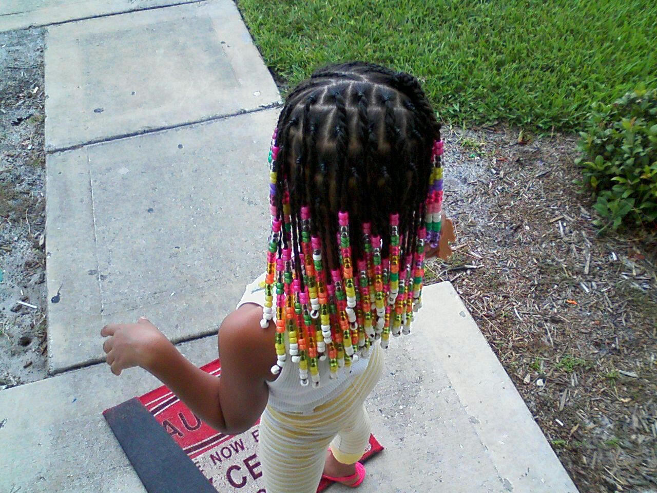 Beads Simple Braids In Front And Little Ponytails In Back