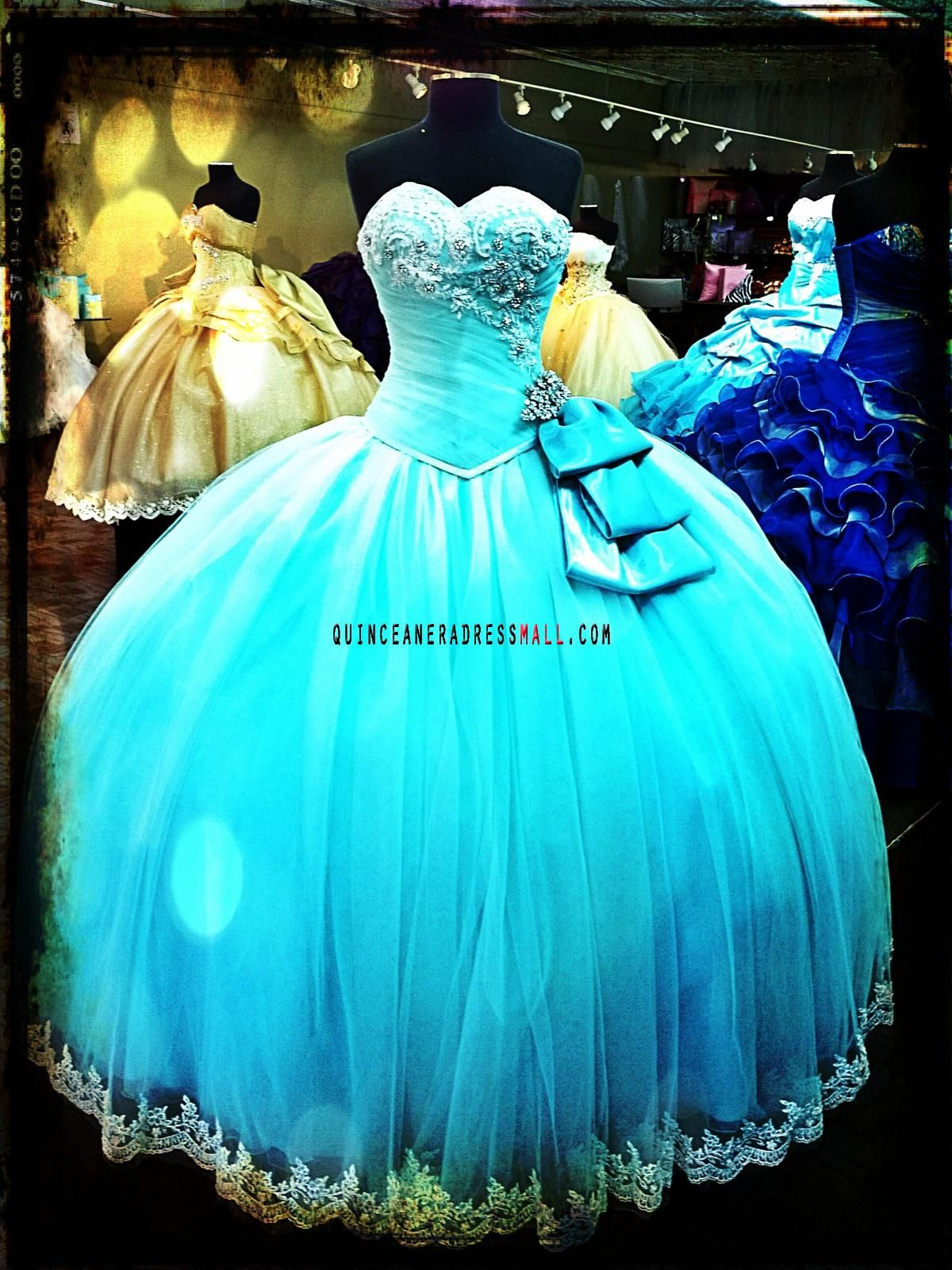 New quinceanera ball gown turquoise applique lace tulle 2014 puffy ...