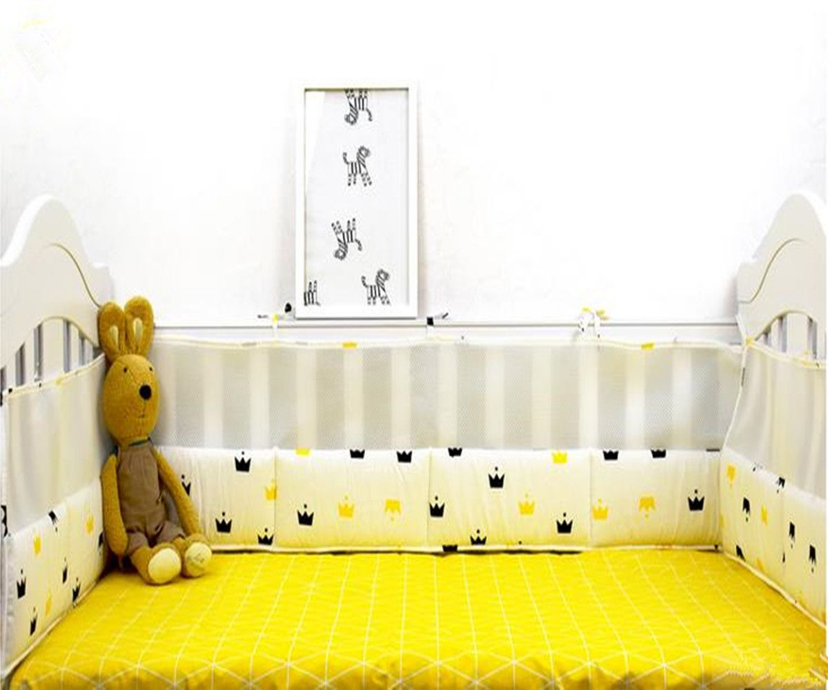 click to buy 4 pcs baby bed bumper cotton summer breathable mesh
