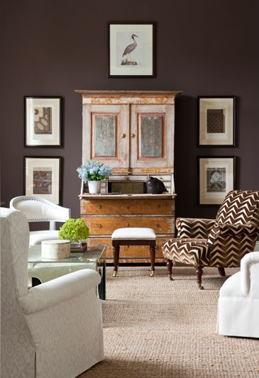 Good Looking In Chocolate And White... Love The Painted Secretary And  Quadrille Print