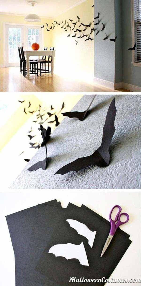 Wall paper bats - Last-Minute Cheap DIY Halloween Decorations You ...