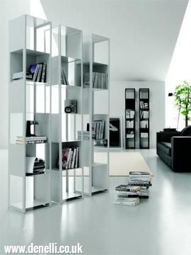 Joker Bookcase - Bookcase with alternate solid panels in white or black painted steel. (Click the photo for more information)