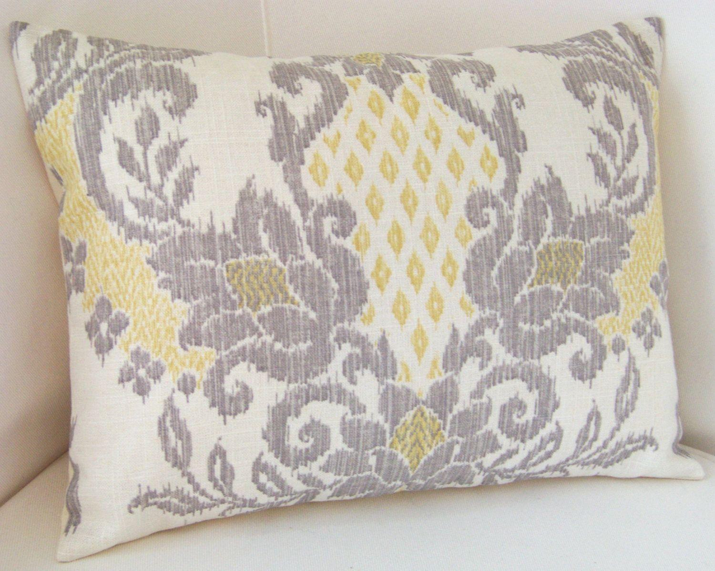 Yellow Gray Pillow Cover Ikat Pillow Throw Accent Cushion 18x18 ...