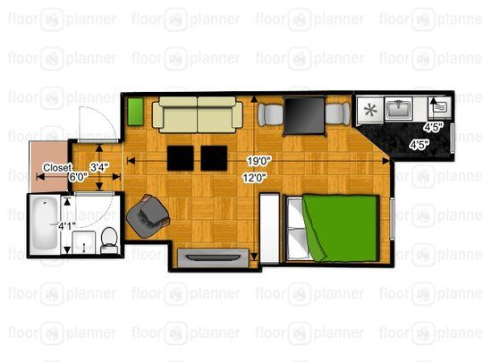 Tiny Apartment Layout casey's plenty of space - small cool contest - 295 sq ft | home a