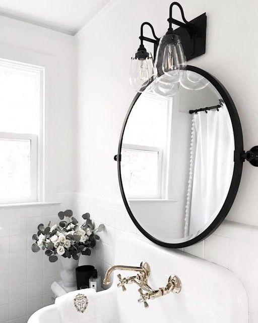 First Floor Powder Room By Lori Round Mirror Bathroom