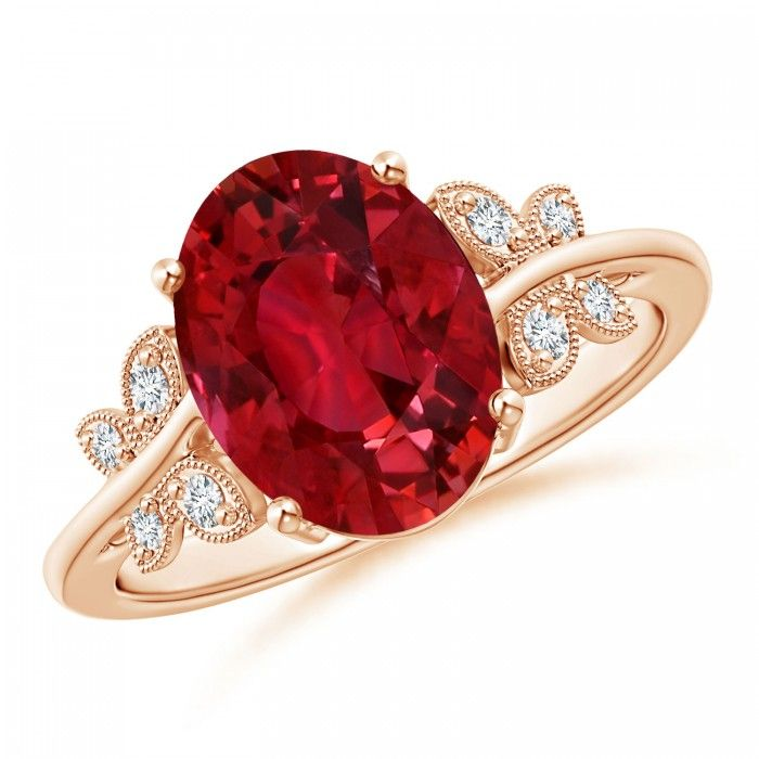Angara GIA Certified Oval Ruby Split Shank Ring with Floral Halo ojvUdxquI