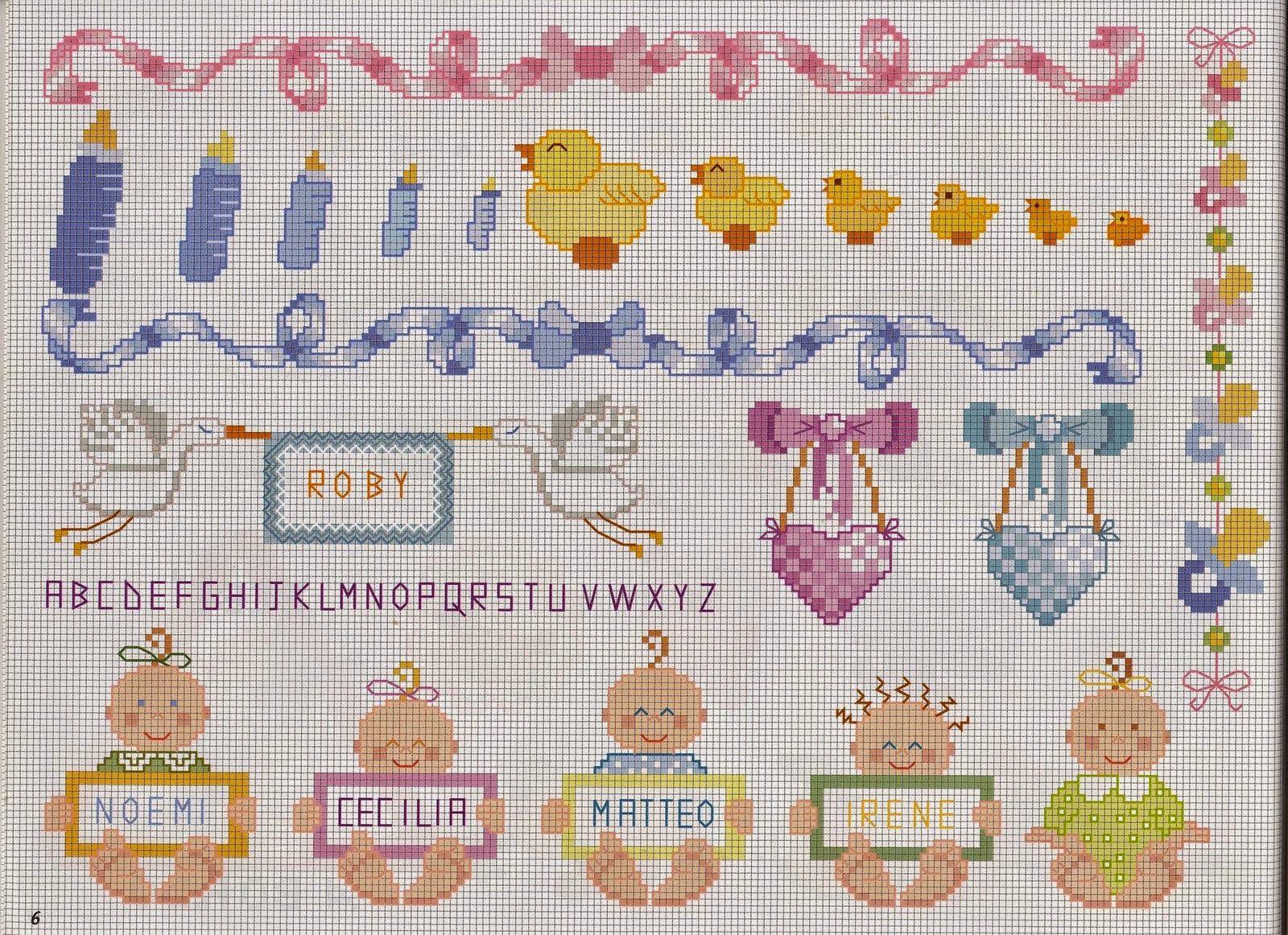 Ricami e schemi a punto croce gratuiti free patterns for Ricami neonati punto croce
