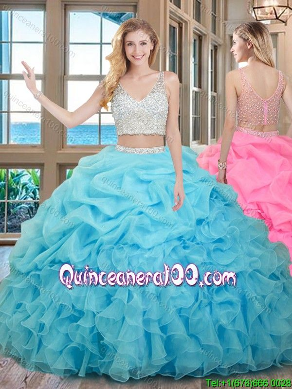 3908502373a Two Piece Ball Gown V Neck Organza Beaded and Bubbled Quinceanera Dresses  in Baby Blue