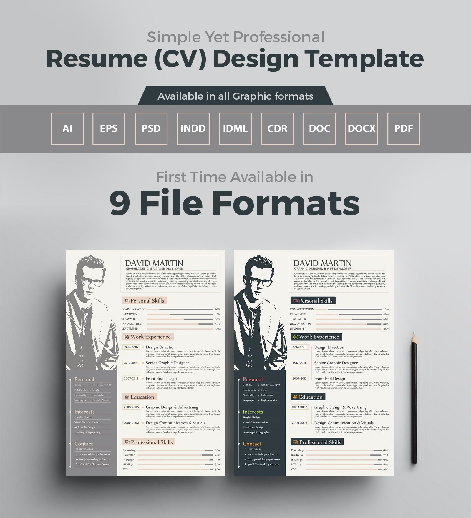 Simple Yet Professional Resume Cv Design Template 3