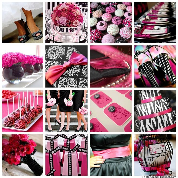 pink and black table settings - Google Search | Pink Paris party ...