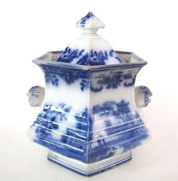 Antique Flow Blue Staffordshire Cachepot by HLWHITINGHAM on Etsy, $165.00