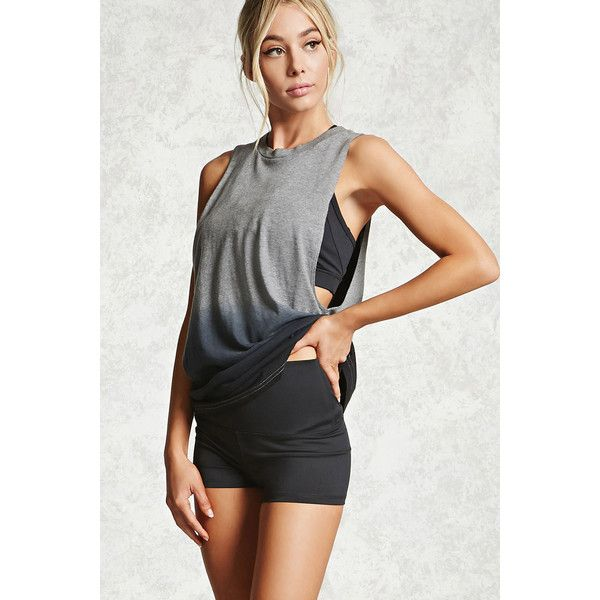 Forever21 Active Ombre Muscle Tee ($13) ❤ liked on Polyvore featuring tops, forever 21, forever 21 tank tops, jersey tank, muscle t shirts and relaxed fit tank top