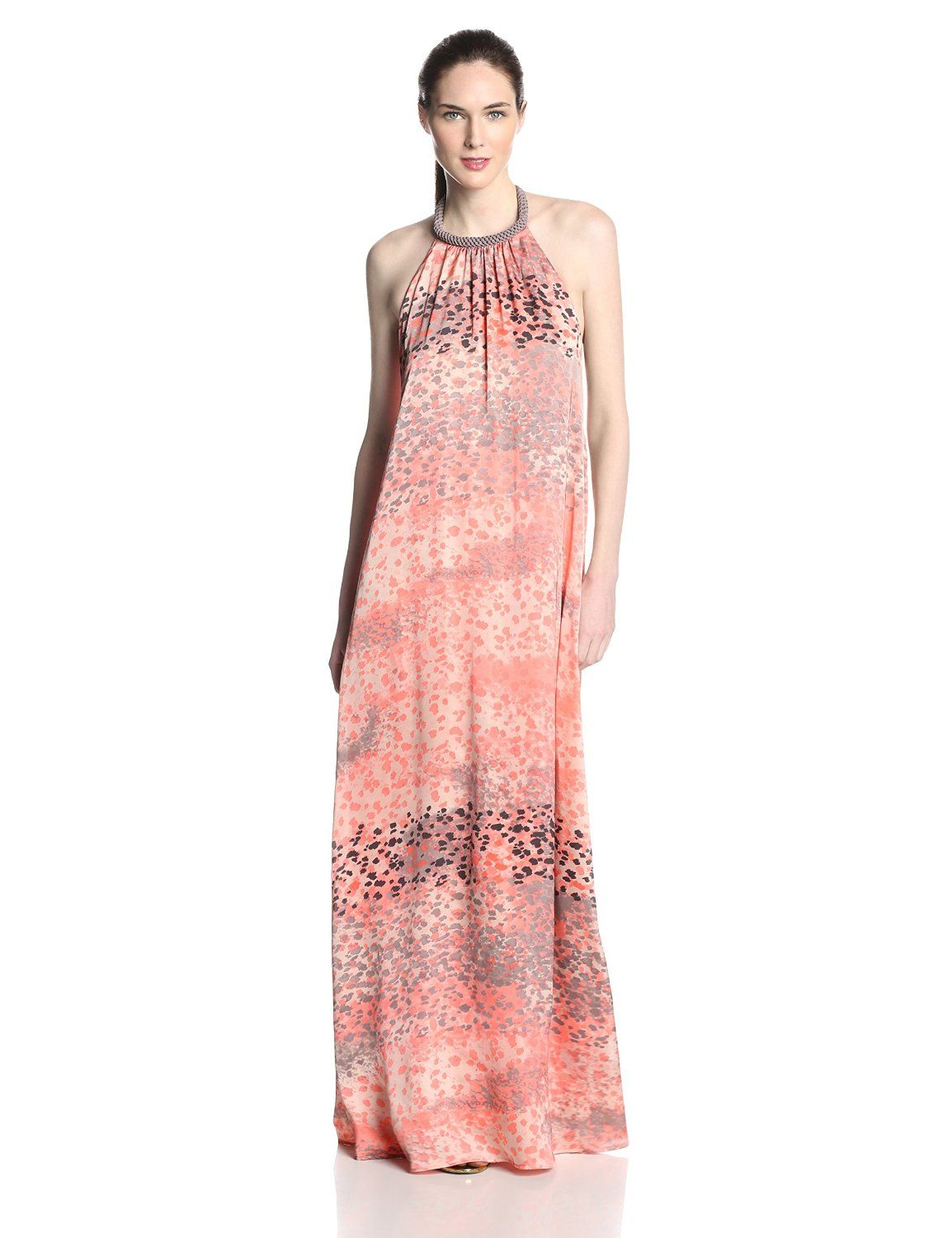 Halter Maxi Dress with Rope Trim At Neck by Jessica Simpson | Pinterest