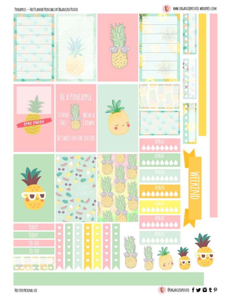 picture about Printable Stickers Free named Free of charge Planner Printable: Pineapples Notetaking Adesivi