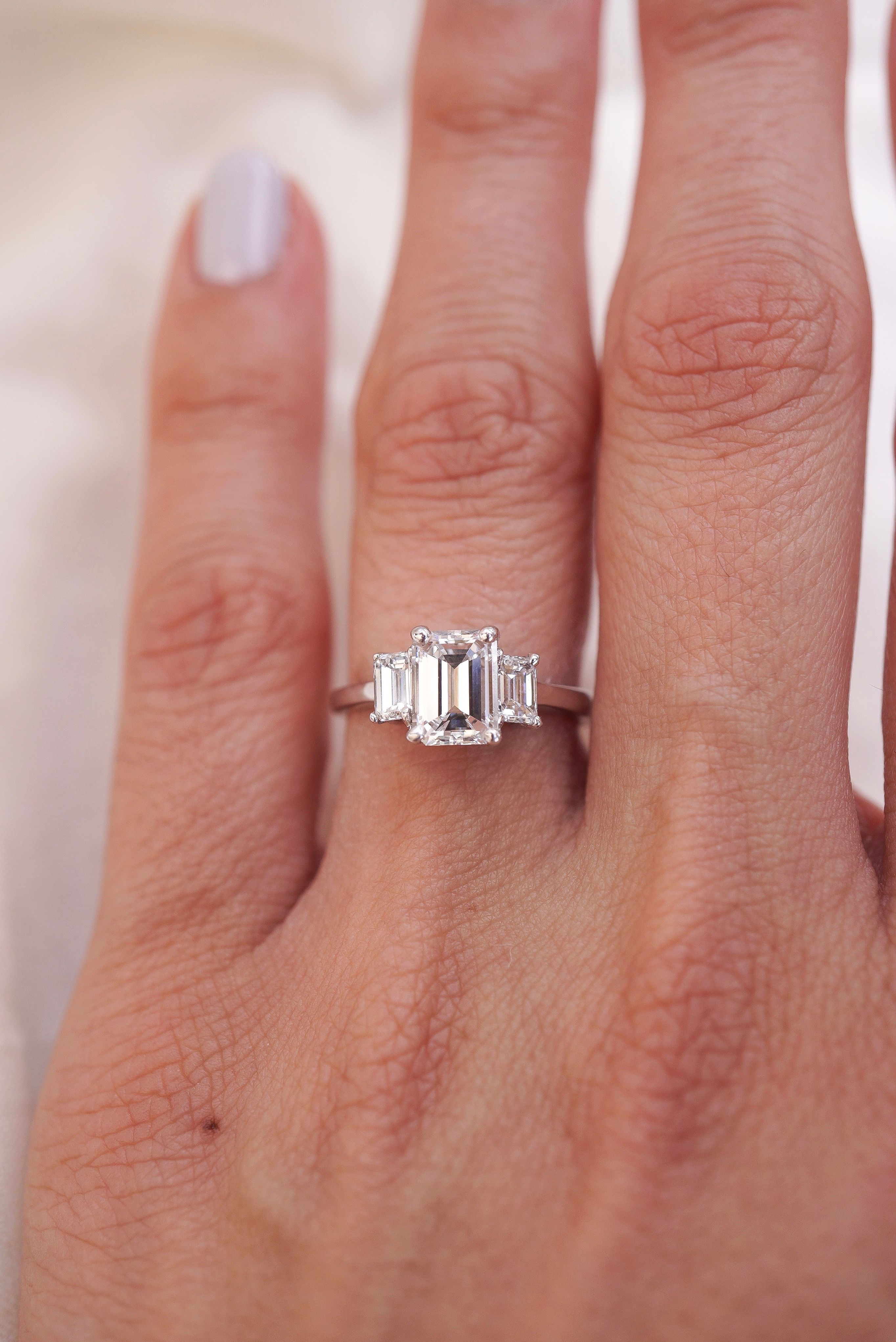 1 55cts Total Emerald Diamond Engagement Ring Engagementrings Emerald Ring Engagement Diamond Fine Engagement Rings Emerald Engagement Ring