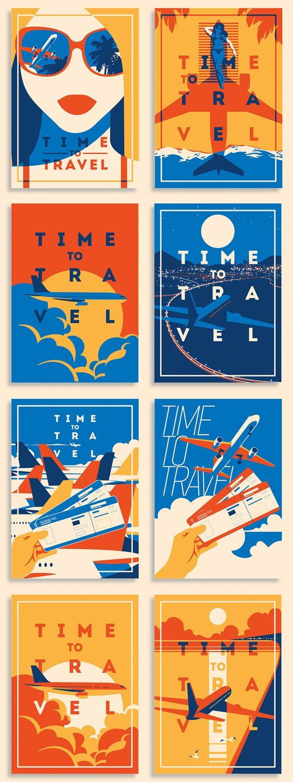 Air Travel Illustrations / with Airplanes, Air Tickets, Girls Portraits and Sky….