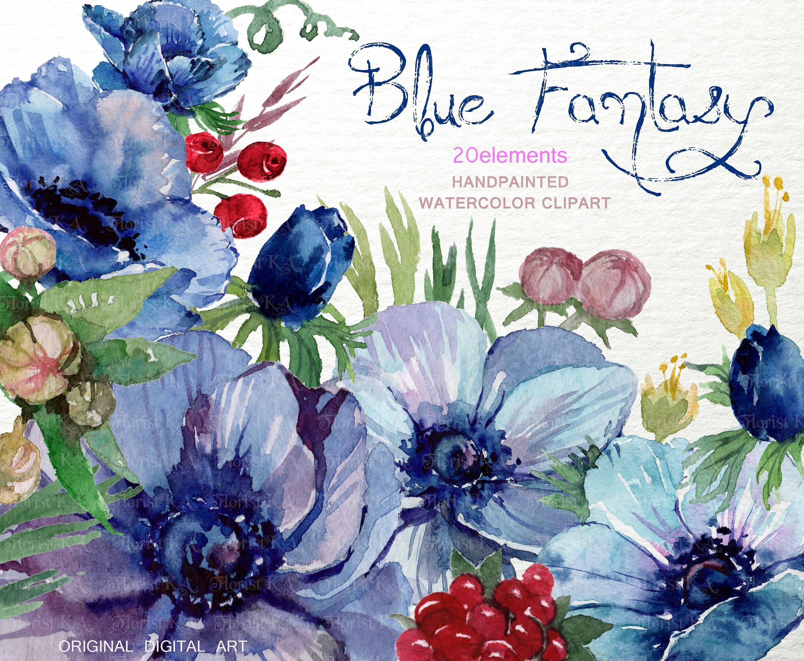 Watercolor Blue Anemone ClipArt F 23 By FLORISTKA On Creativemarket