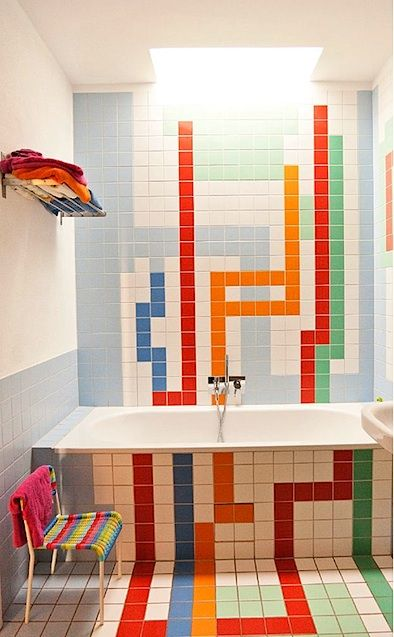 Christopher Niemann S Fab Color Tiled Bathrooms Improvised Life