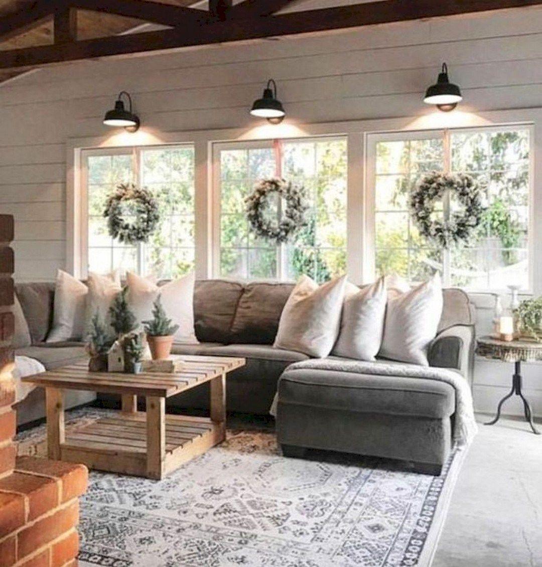 Cozy Modern Farmhouse Sunroom Design Ideas (16) Modern