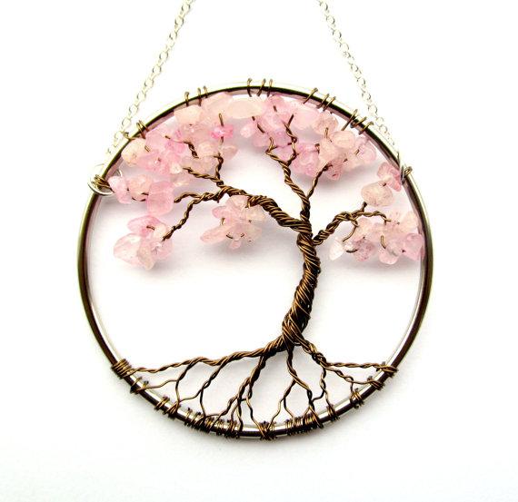 Rosenquarz Draht Lebensbaum Wandbehang Cherry Baum Bonsai Sun