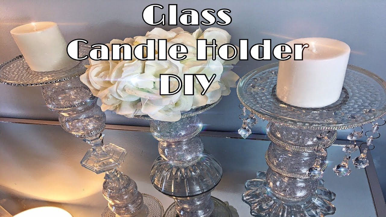 Dollar tree diy crystal glass candle holder youtube diy