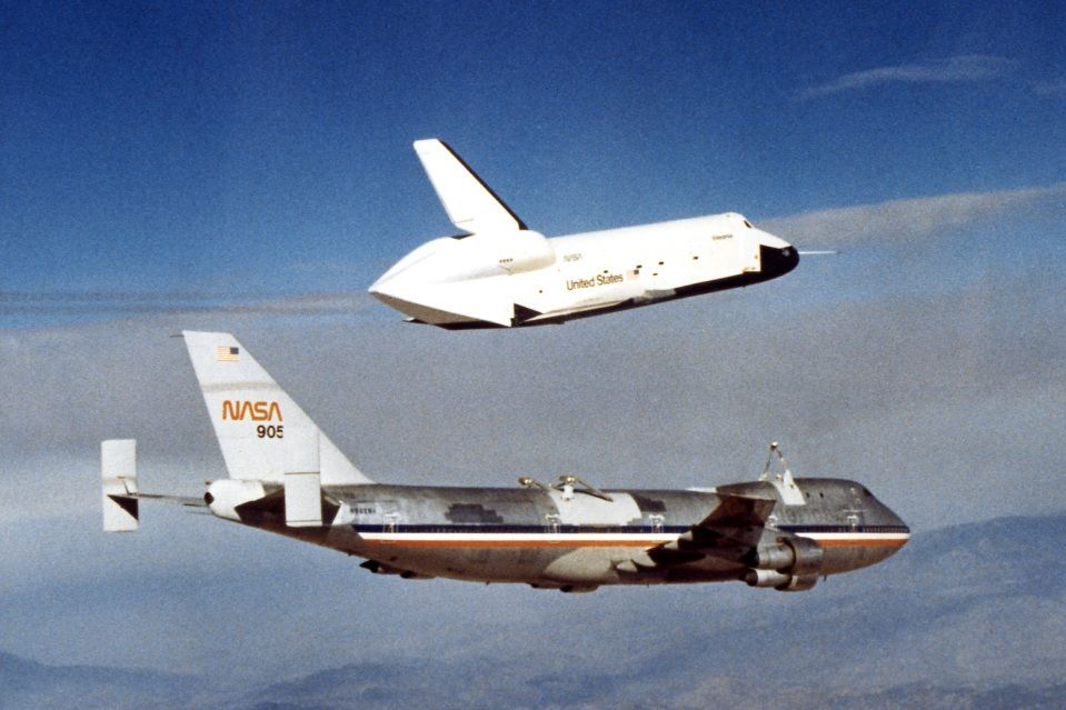 Space Shuttle Enterprise Separates From Shuttle Carrier Aircraft